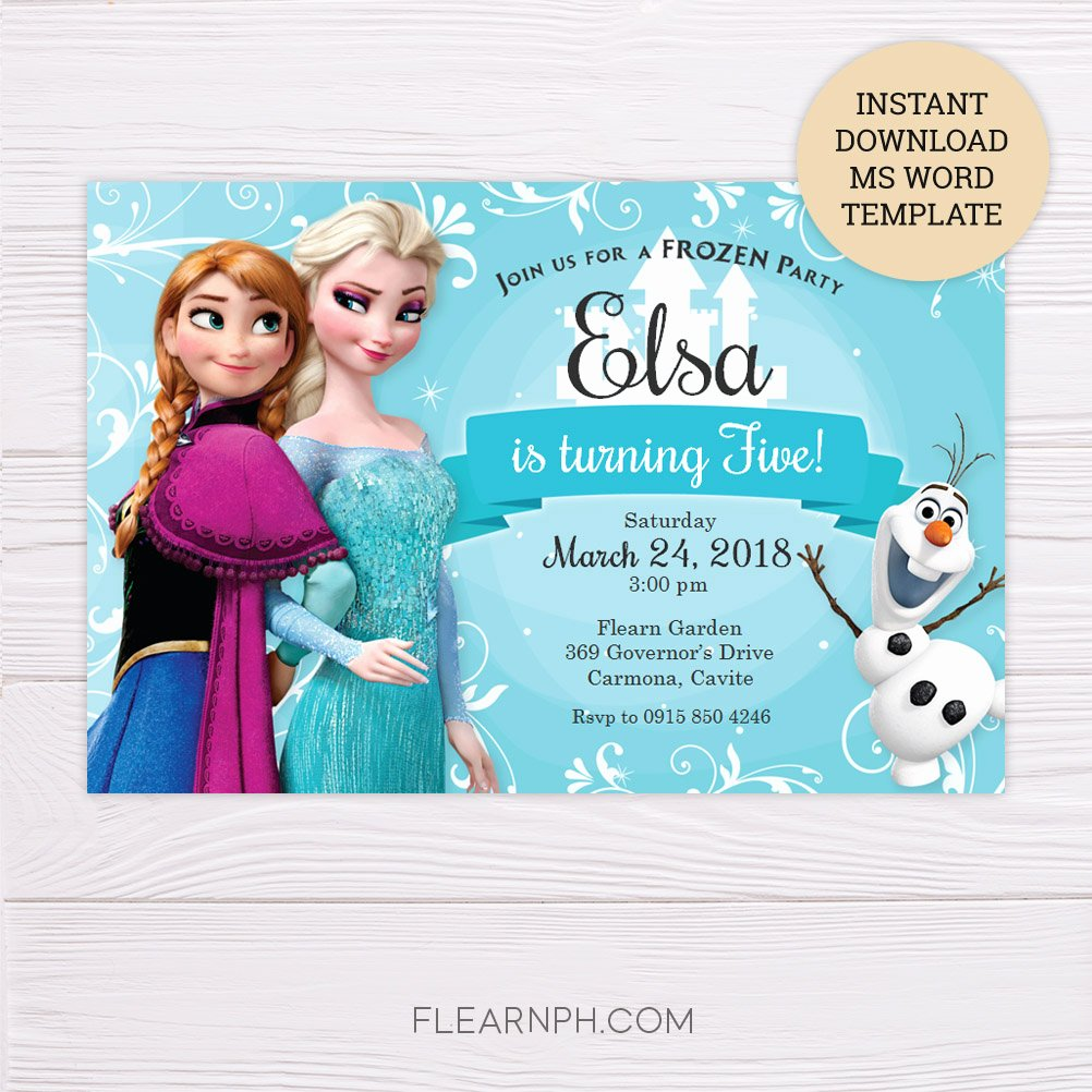 Free Frozen Invitations Template Inspirational Frozen Invitation Template In Ms Word – Flearn Ph