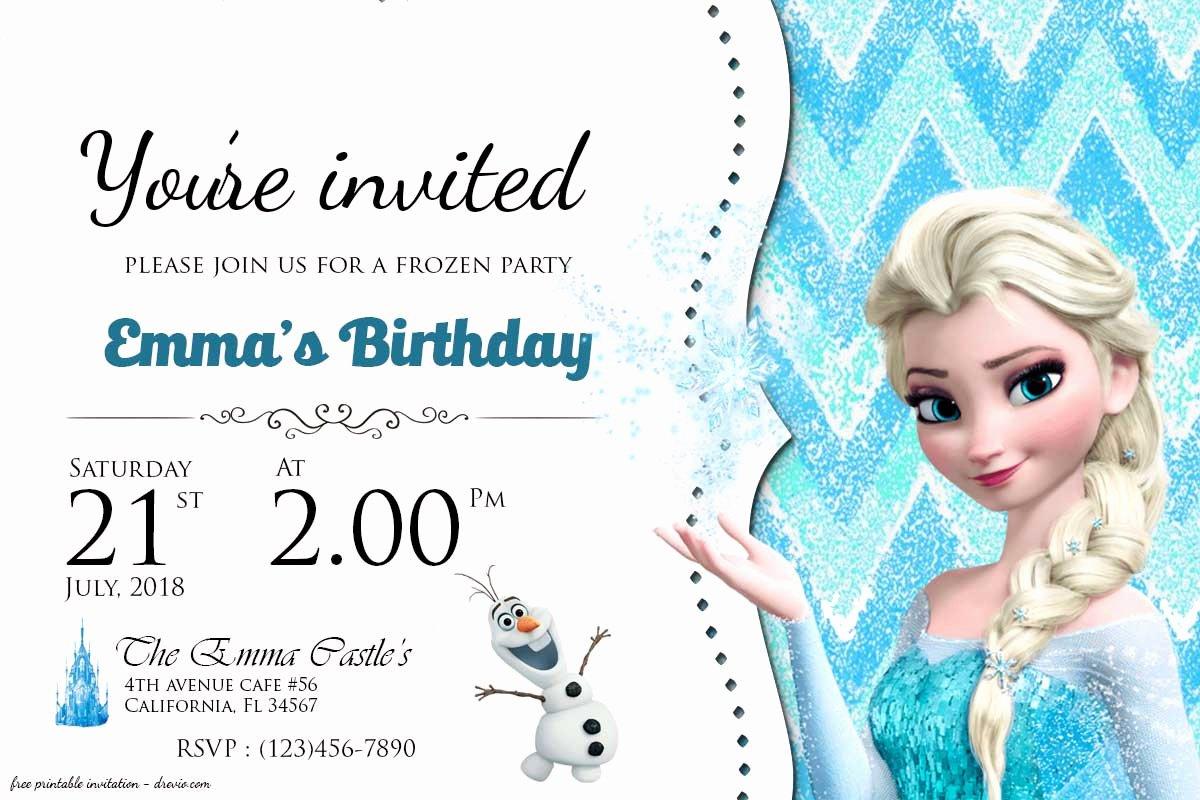 Free Frozen Invite Template Fresh Free Frozen Birthday Invitation Templates