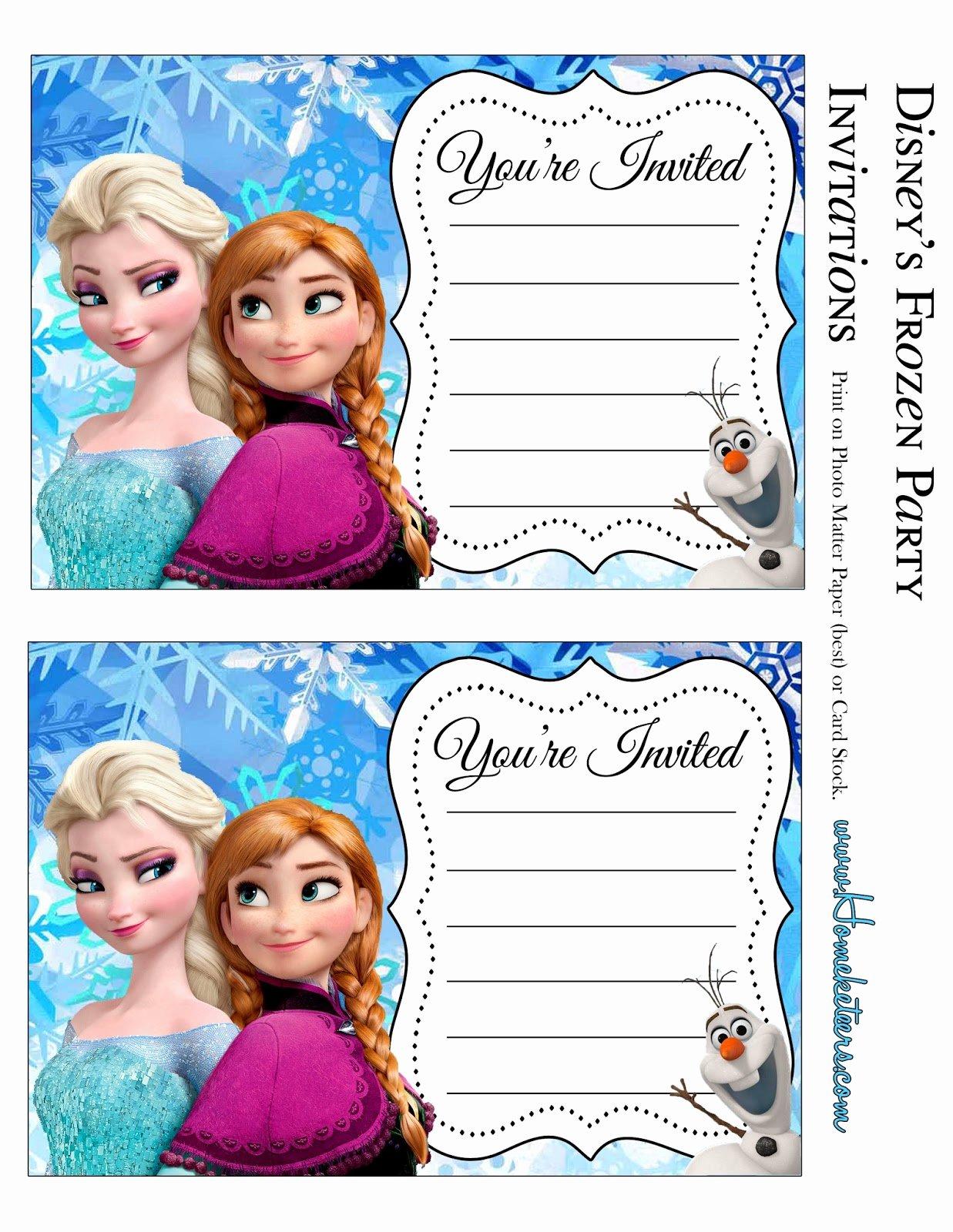Free Frozen Invite Template Fresh Frozen Party Free Printable Invitations