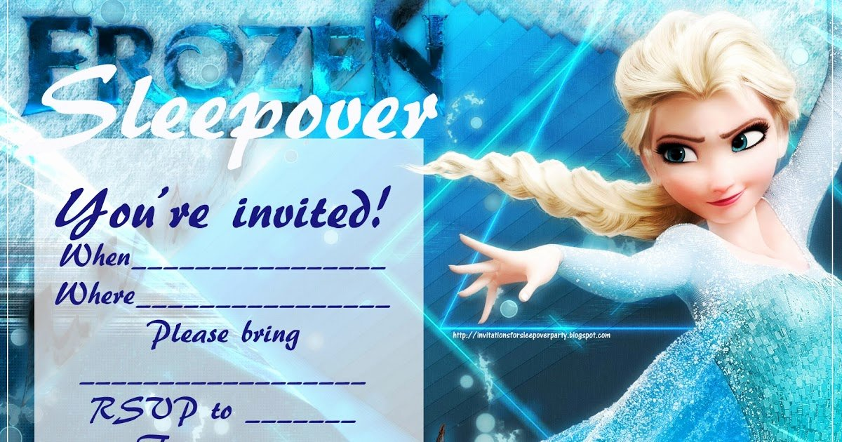 Free Frozen Invite Template Fresh Invitations for Sleepover Party