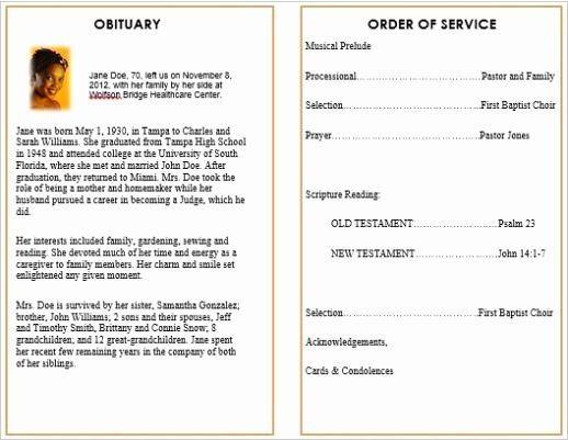 Free Funeral Service Program Template Awesome Memorial Bulletins for Funerals