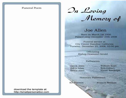 Free Funeral Service Program Template Beautiful Free Funeral Program Templates