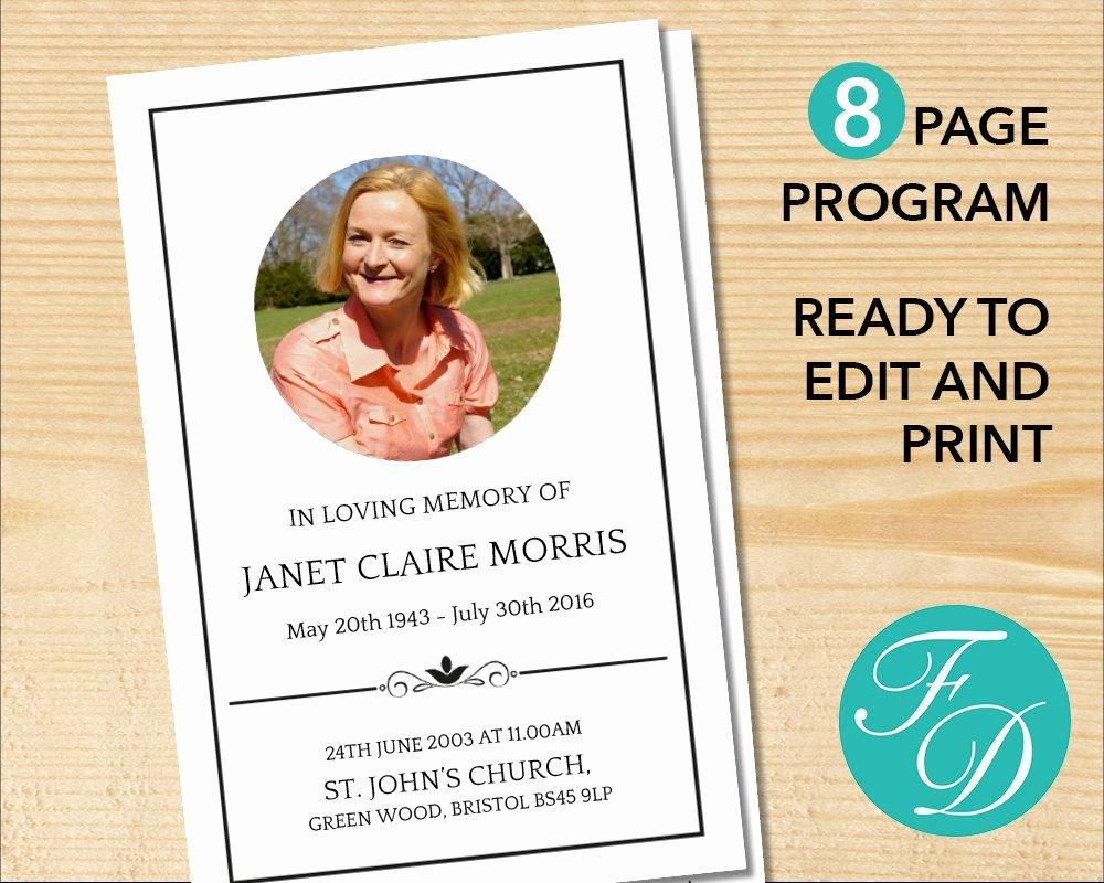 Free Funeral Service Program Template Elegant 8 Page Classic Funeral Program Template Celebration Of