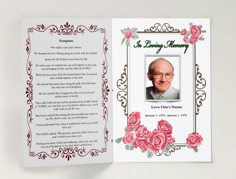 Free Funeral Service Program Template Elegant Pink Floral Funeral Template