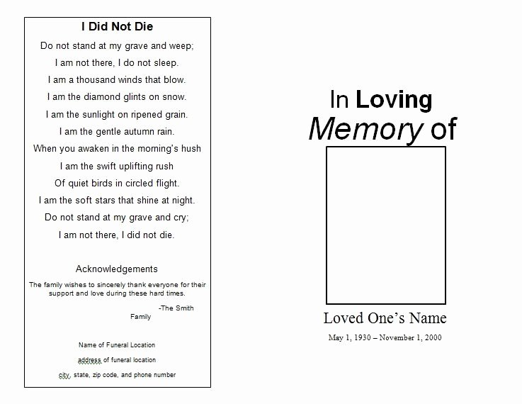 Free Funeral Service Program Template Elegant the Funeral Memorial Program Blog Free Funeral Program