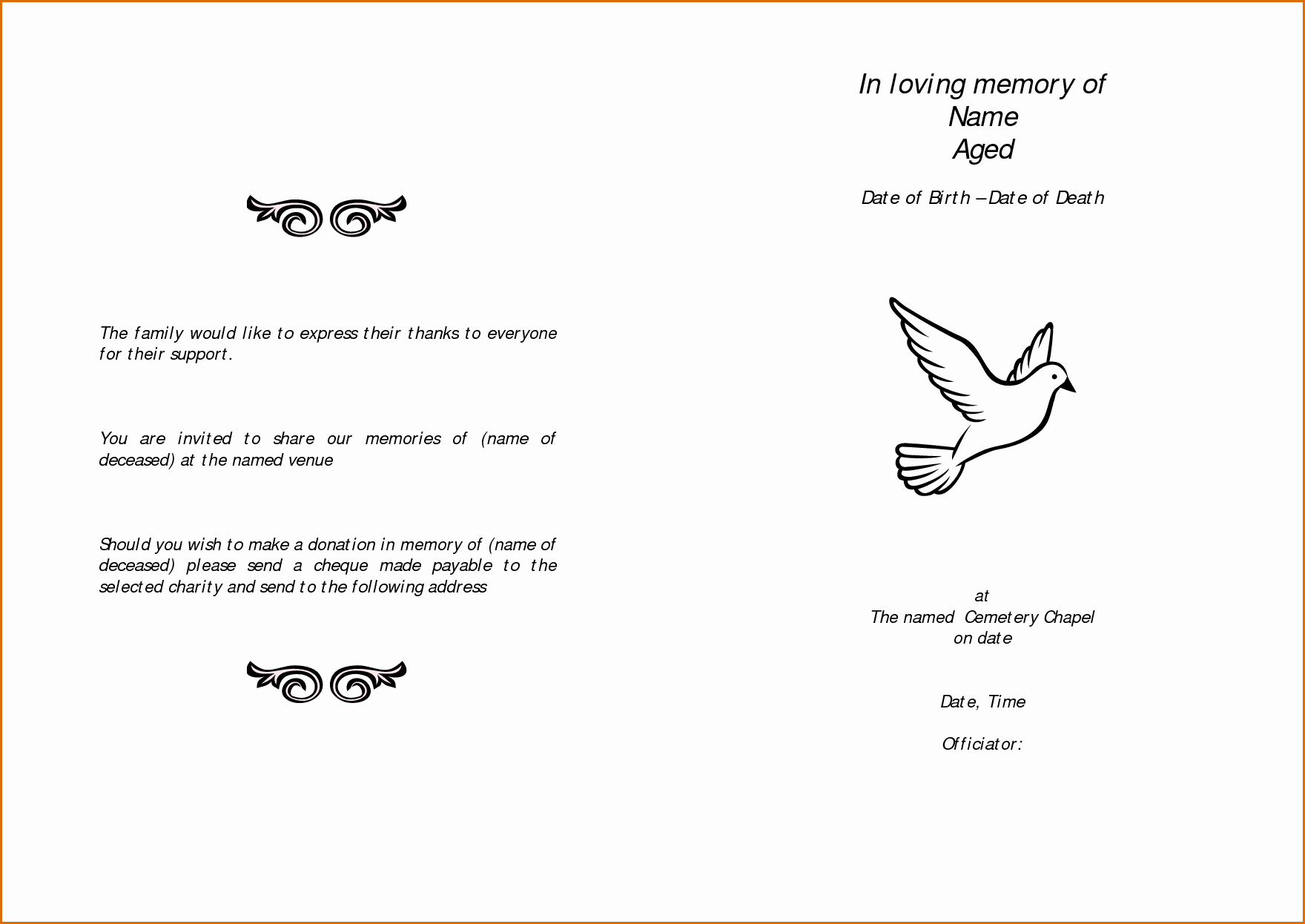 Free Funeral Service Program Template Fresh 11 Free Funeral Program Templates