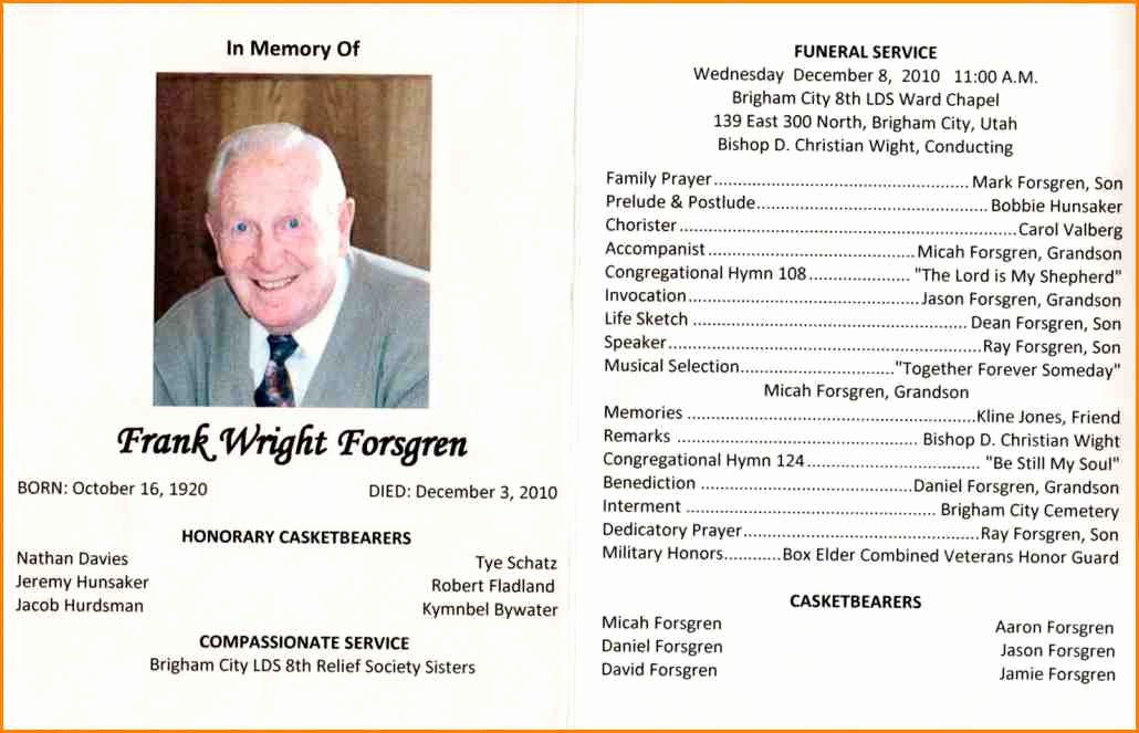 Free Funeral Service Program Template Inspirational Funeral Template Word Zoro9terrainsco