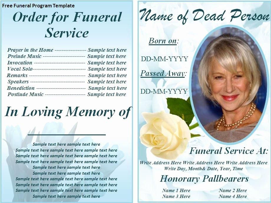 Free Funeral Service Program Template Unique Free Funeral Program Templates