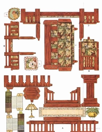 Free Furniture Templates to Print Beautiful Cut & assemble Paper Dollhouse Furniture by American