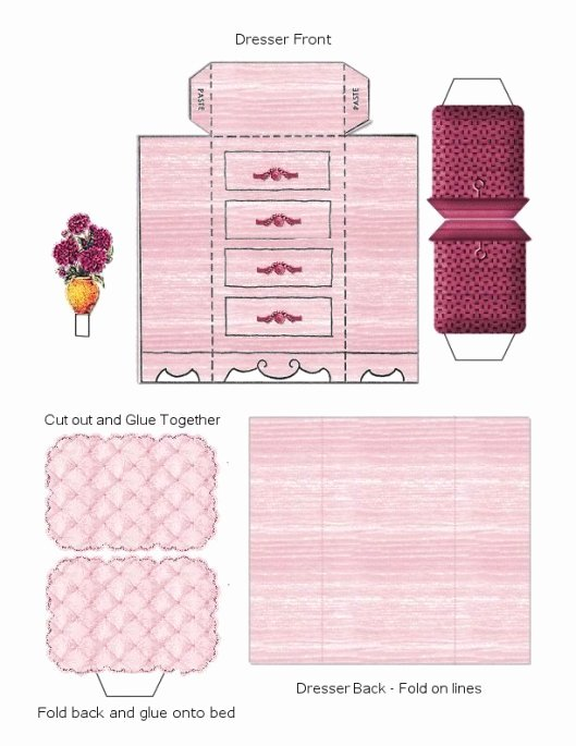 Free Furniture Templates to Print Unique Paper Crafts – Playsets – Dwellings Furniture