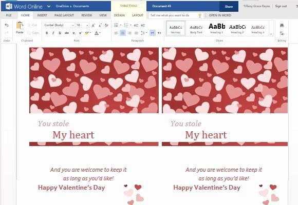 Free Greeting Card Template Word New Valentine Cards Maker Template for Word Line