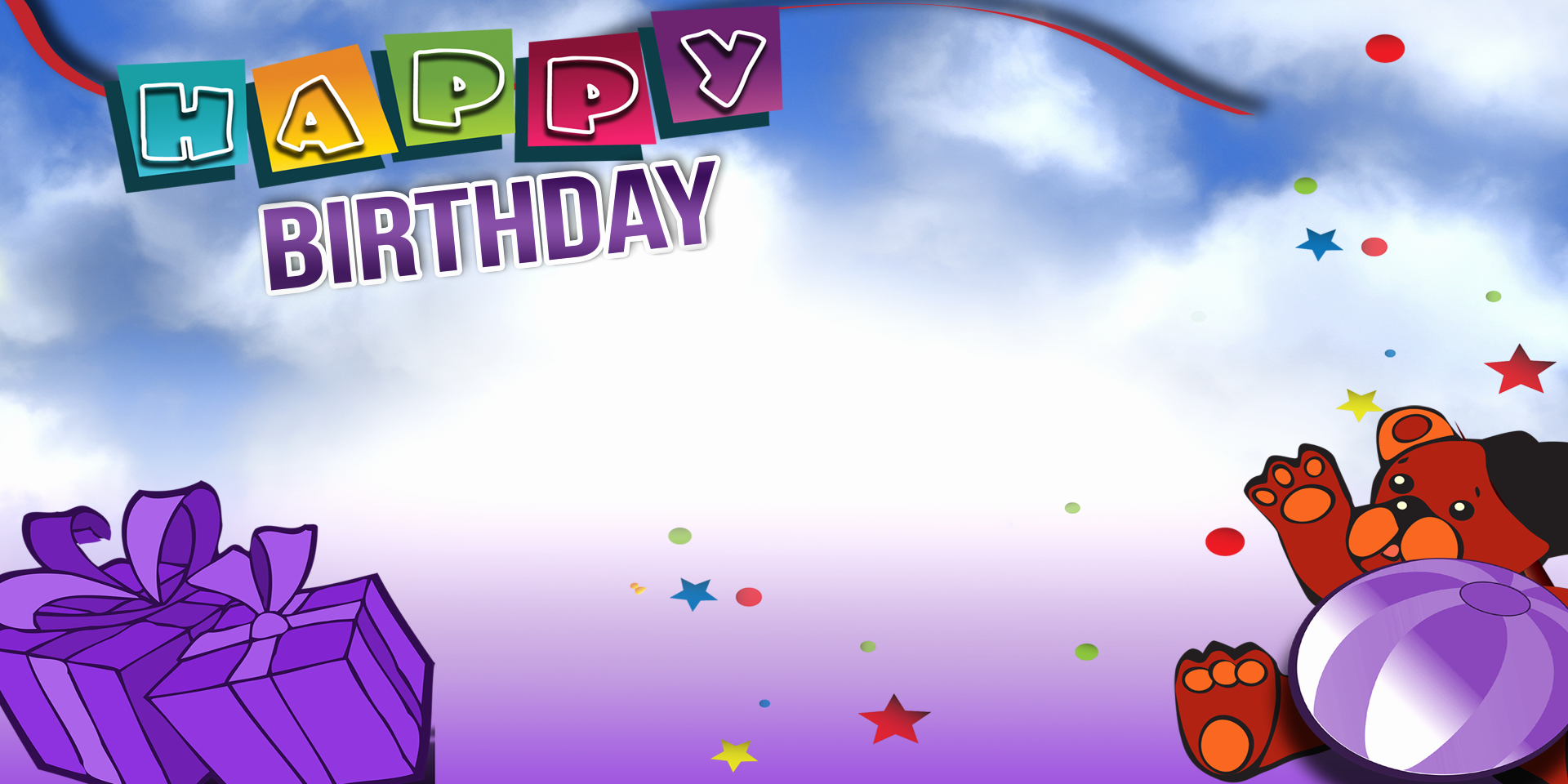 Free Happy Birthday Poster Lovely Happy Birthday Banner Purple Bear Vinyl Banners