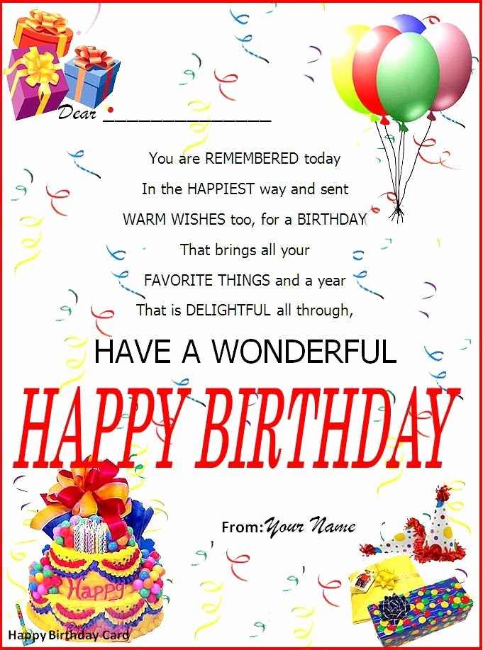 Free Happy Birthday Template Unique Birthday Card Word Template