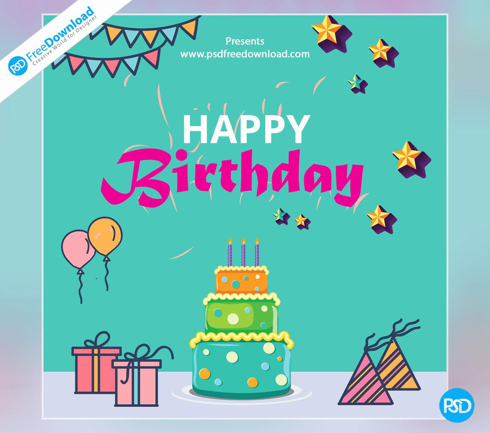 Free Happy Birthday Templates Inspirational Happy Birthday Template Greeting Card Psd Free Download