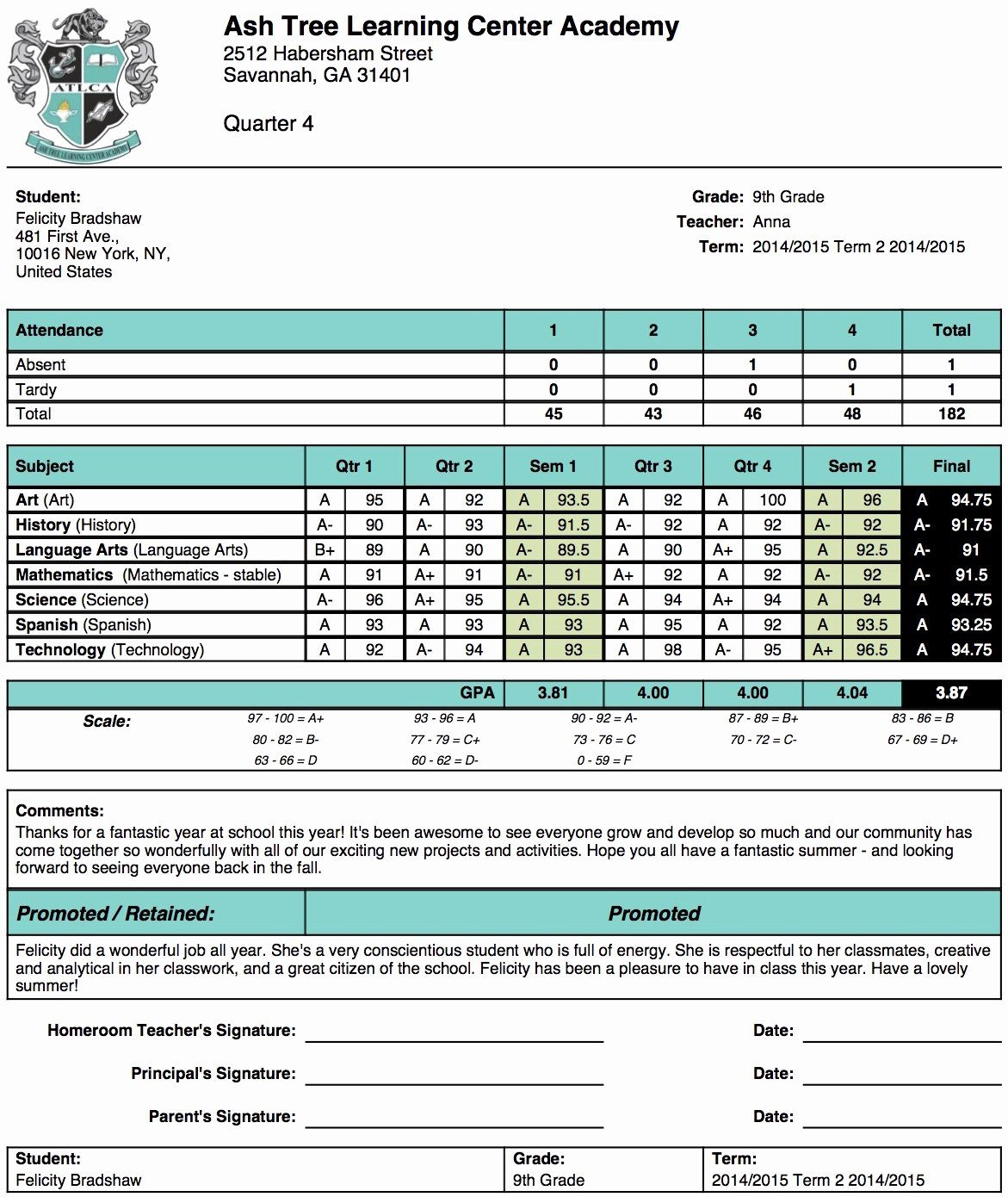 Free Homeschool Report Card Template Best Of ash Tree Learning Center Academy Report Card Template
