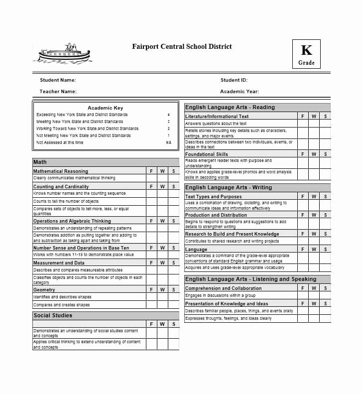 Free Homeschool Report Card Template Best Of High School Report Card Template