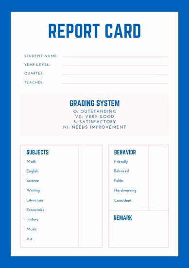Free Homeschool Report Card Template Lovely Customize 34 Homeschool Report Card Templates Online Canva