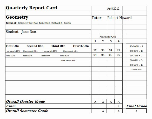 Free Homeschool Report Card Template New Sample Homeschool Report Card 7 Documents In Pdf Word