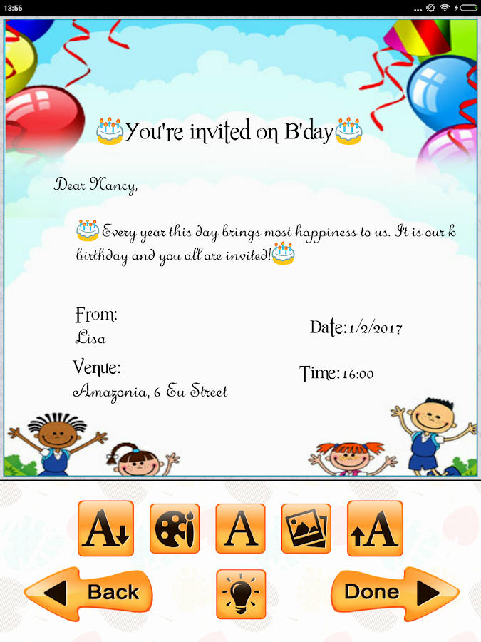 Free Invitation Maker App Fresh Kids Birthday Invitation Maker android Apps On Google Play