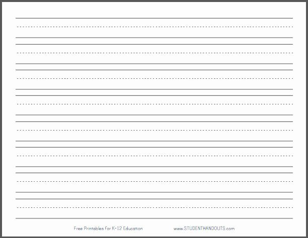 "Free Lined Paper for Kindergarten Lovely Primary Dashed Writing Paper with 1"" Lines"
