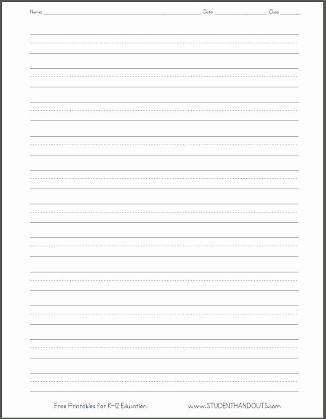 Free Lined Writing Paper New Dashed Line Handwriting Practice Paper Printable Worksheet