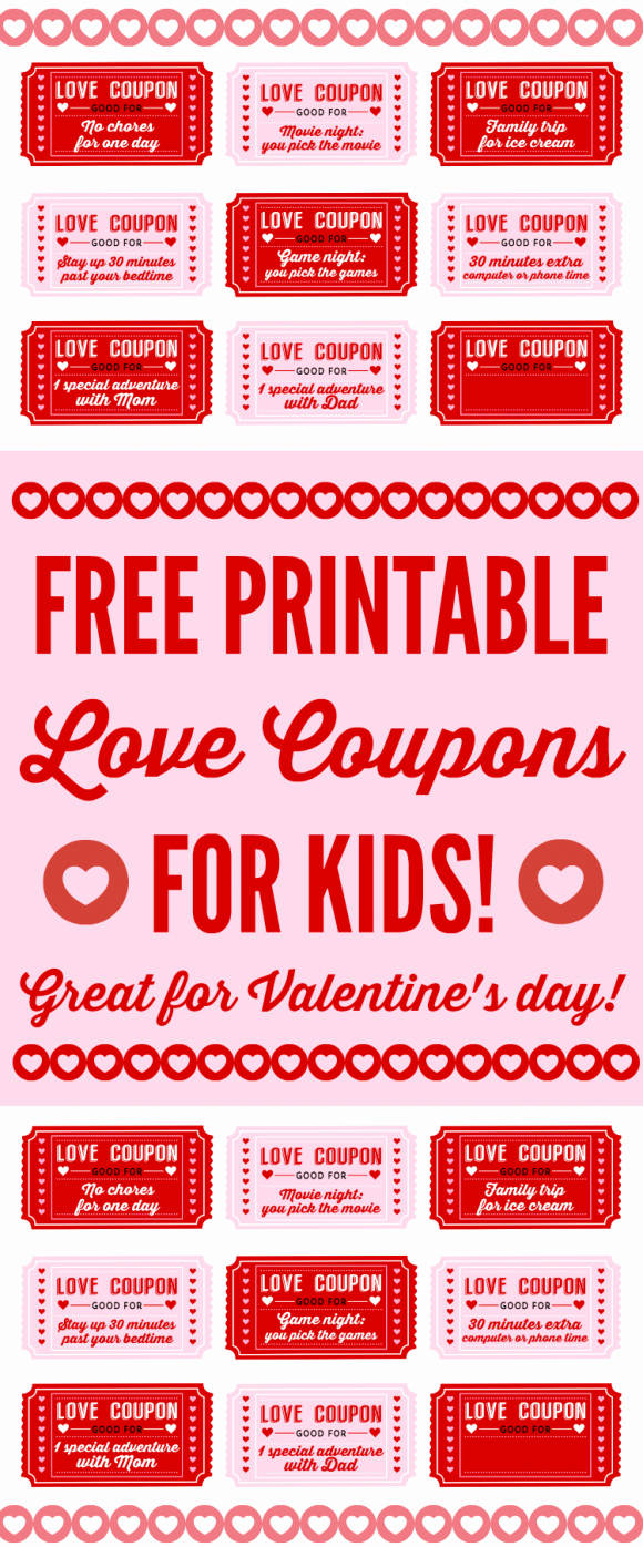 Free Love Coupons for Him Beautiful Free Printable Love Coupons for Kids Valentine S Day
