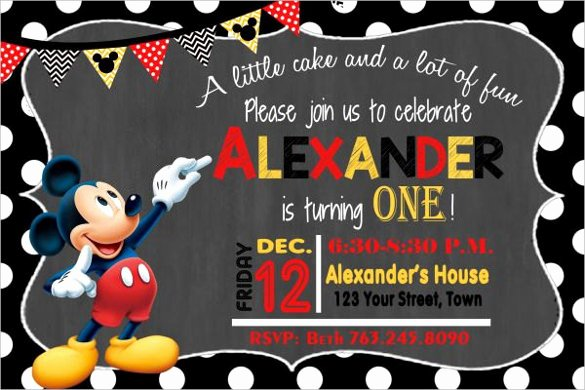 Free Mickey Mouse Birthday Invitations Awesome 31 Mickey Mouse Invitation Templates Free Sample
