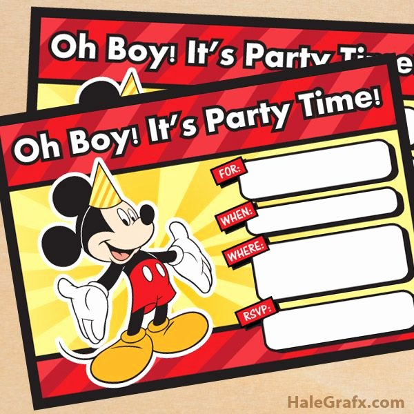 Free Mickey Mouse Birthday Invitations Beautiful Free Printable Mickey Mouse Birthday Invitation