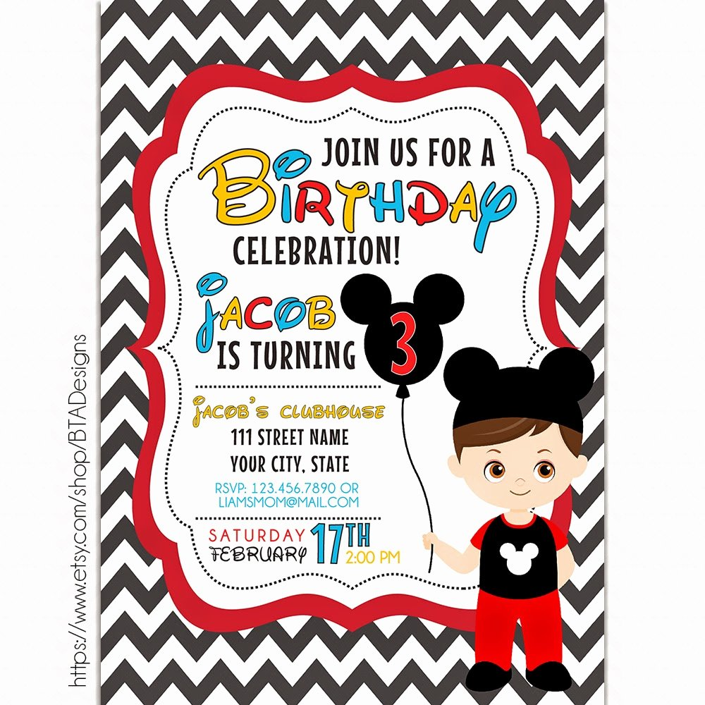 Free Mickey Mouse Birthday Invitations Inspirational Mickey Mouse Inspired Birthday Invitations Free Printable