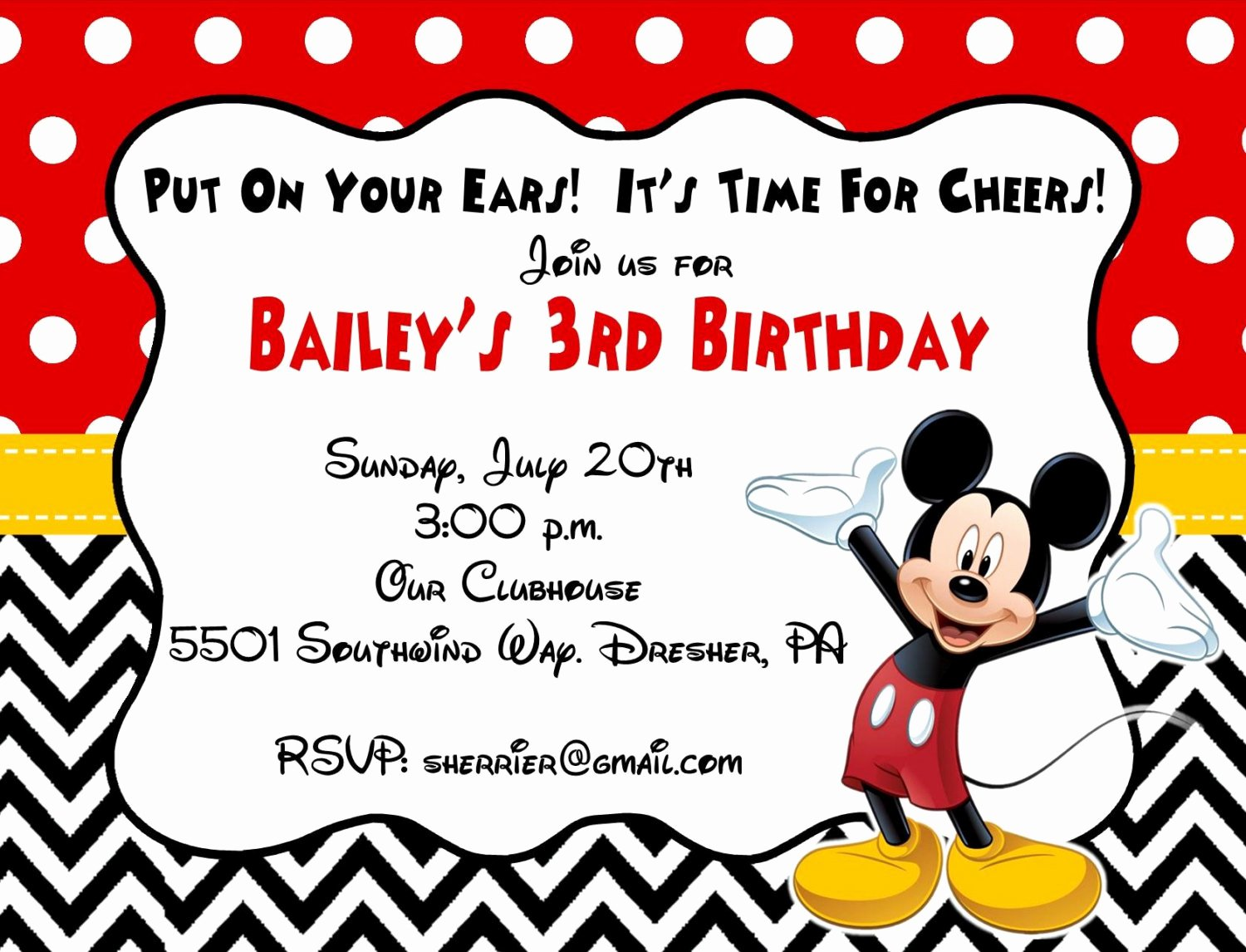 Free Mickey Mouse Birthday Invitations Unique 10 Printed Mickey Mouse Invitations with Envelopes Free