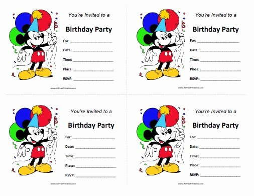 Free Mickey Mouse Birthday Invitations Unique Mickey Mouse Birthday Invitations Free Printable