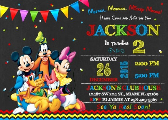 Free Mickey Mouse Clubhouse Invitations Lovely Mickey Mouse Clubhouse Invitation Birthday Mickey Mouse