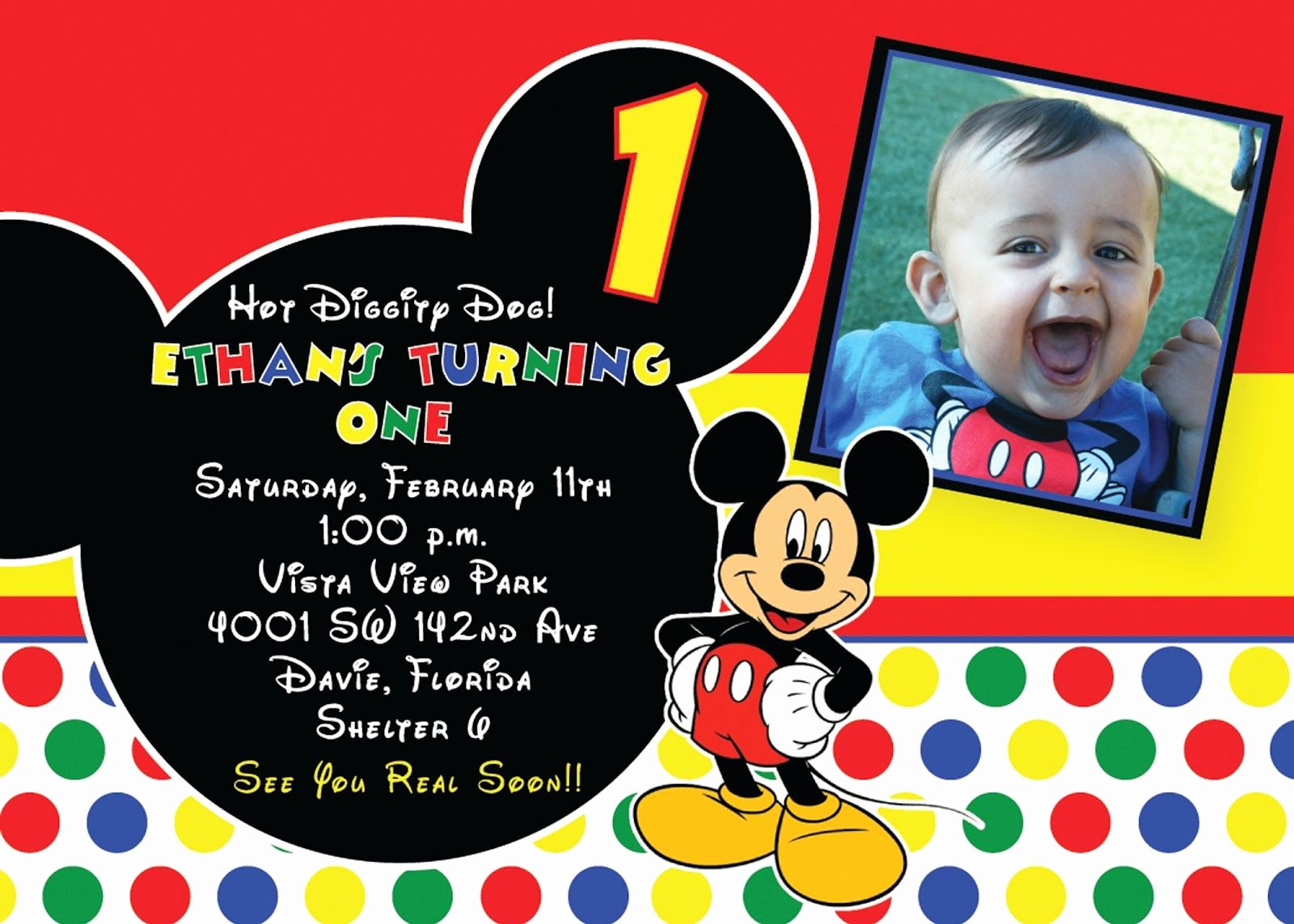 Free Mickey Mouse Invitation Template Beautiful Mickey Mouse 1st Birthday Invitations