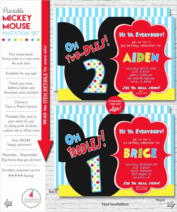 Free Mickey Mouse Invitation Template Elegant 31 Mickey Mouse Invitation Templates Free Sample