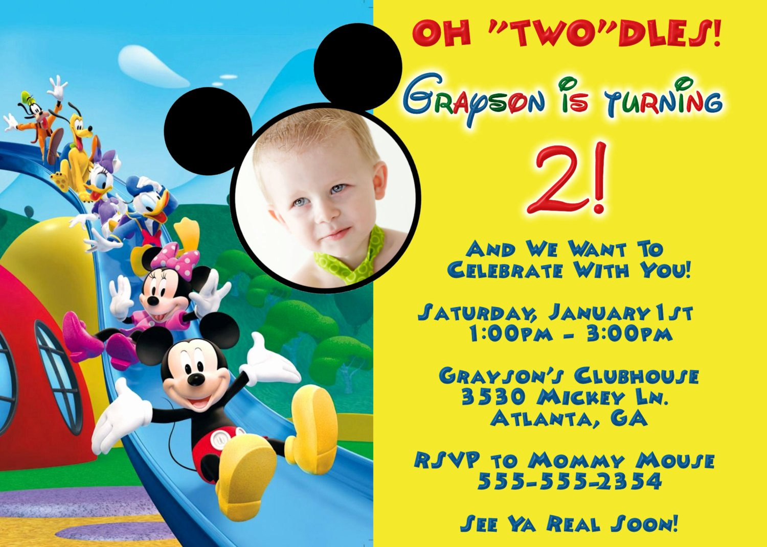 Free Mickey Mouse Invitation Template Inspirational Mickey Mouse Clubhouse Birthday Invitations