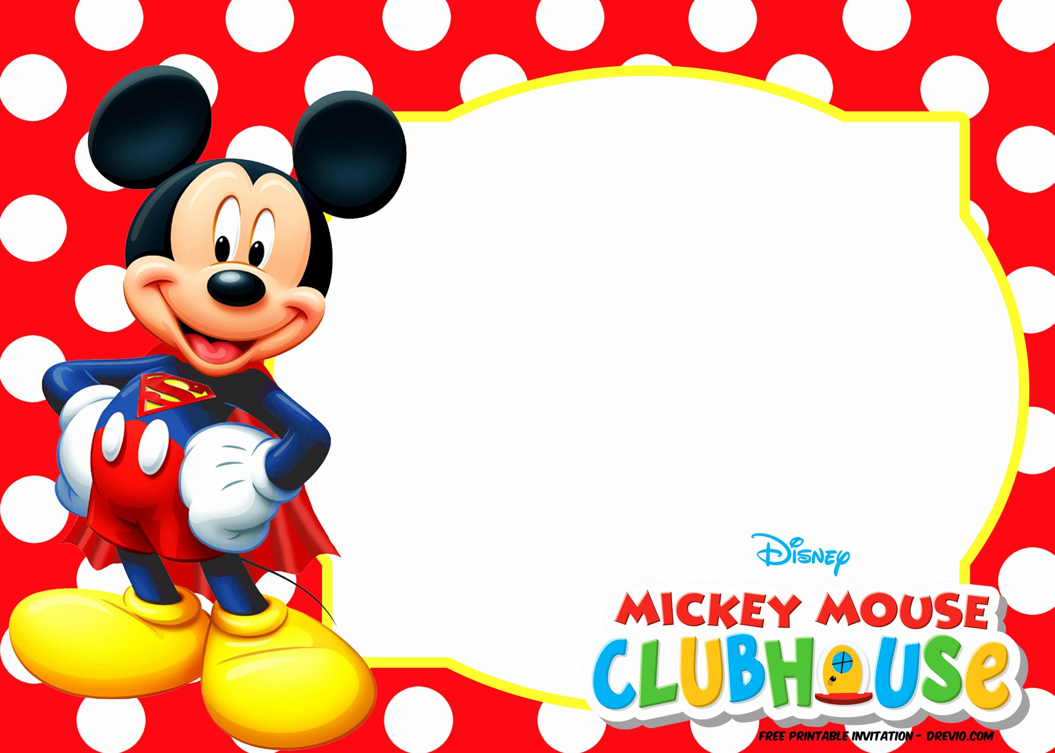 Free Mickey Mouse Invitation Template Inspirational Mickey Mouse Polka Dot Invitation Templates