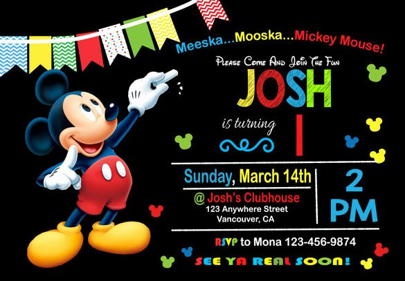 Free Mickey Mouse Invitation Template Lovely 49 Birthday Invitation Templates Psd Ai Word