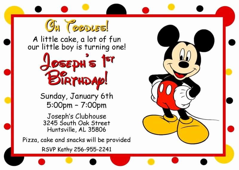 Free Mickey Mouse Invitation Template Lovely Mickey Mouse Oh toodles Birthday Invitations Digital