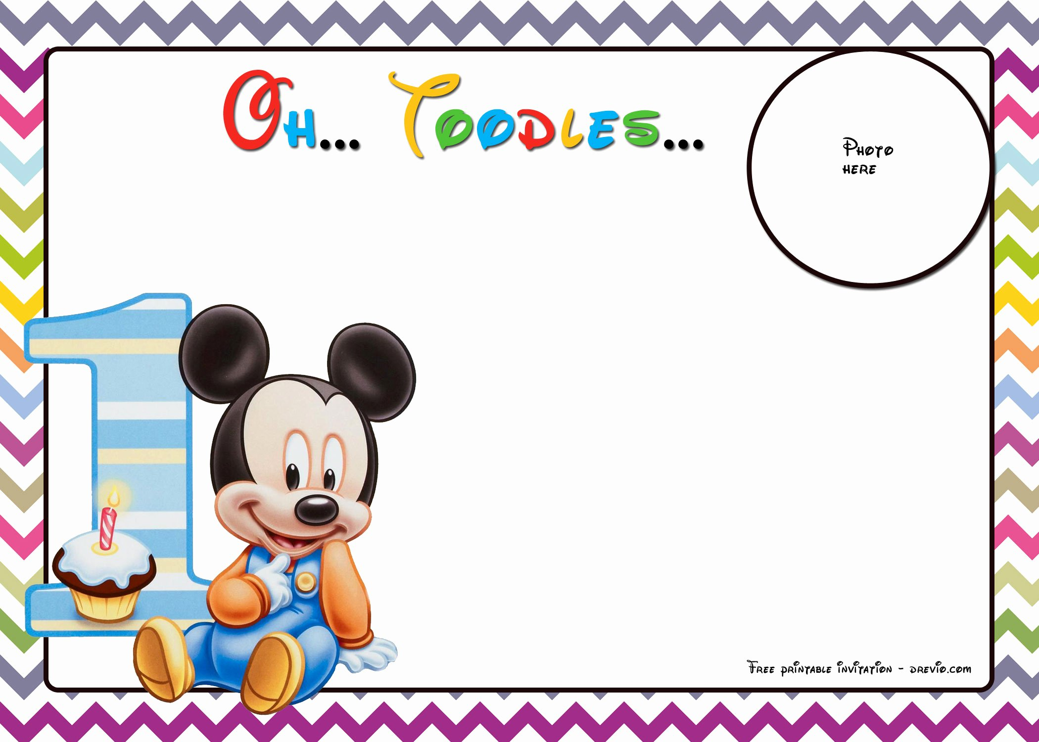 Free Mickey Mouse Invitation Template Luxury Free Mickey Mouse Birthday Invitations Template – Chevron