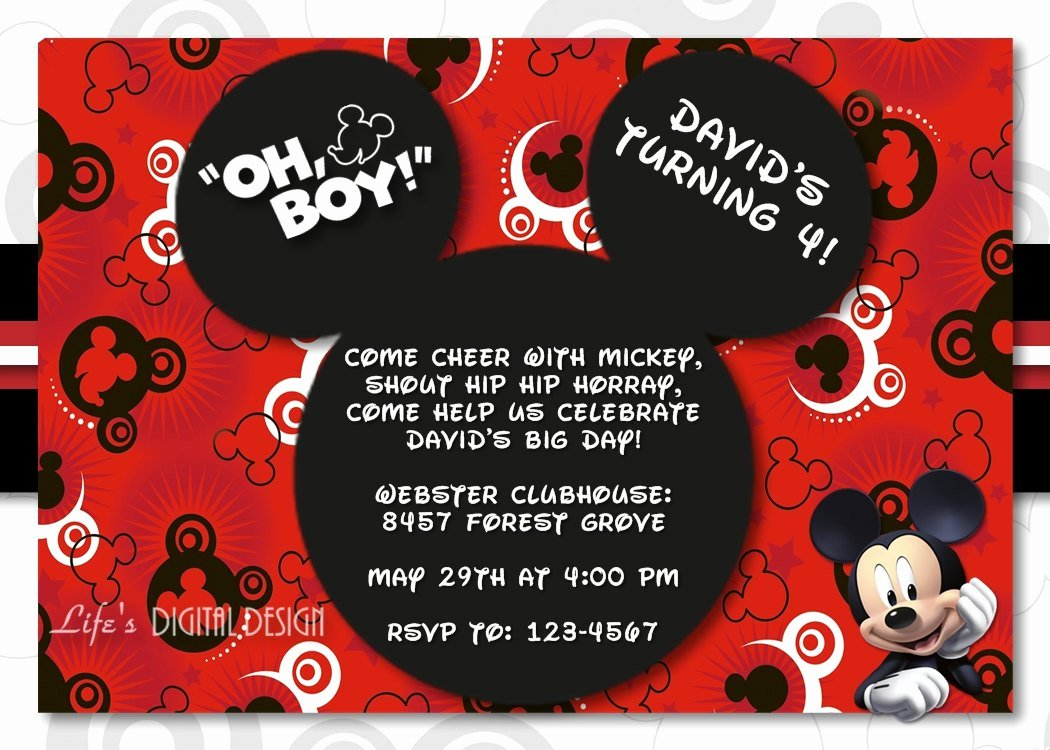 Free Mickey Mouse Invitations Beautiful Mickey Mouse 1st Birthday Invitations for Girls and Boys