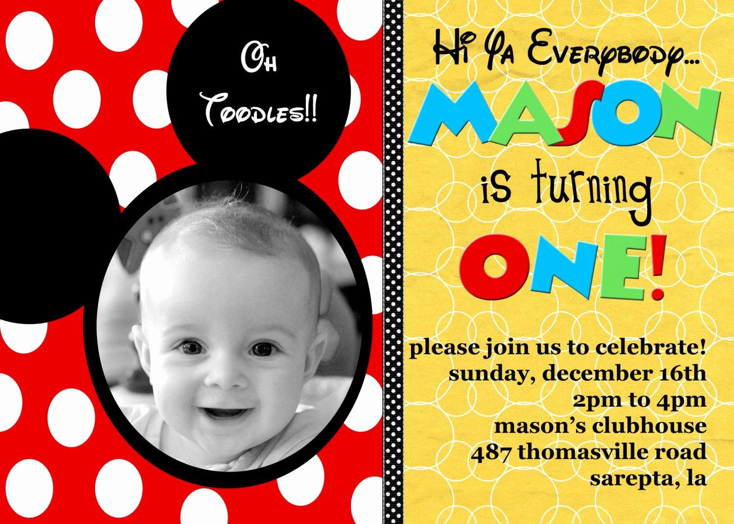Free Mickey Mouse Invitations Elegant Customized Birthday Invitation Mickey Mouse or by