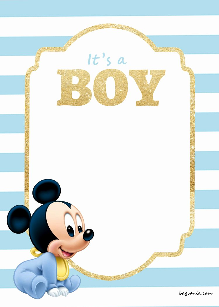 Free Mickey Mouse Invitations Luxury Free Printable Disney Baby Shower Invitations Free