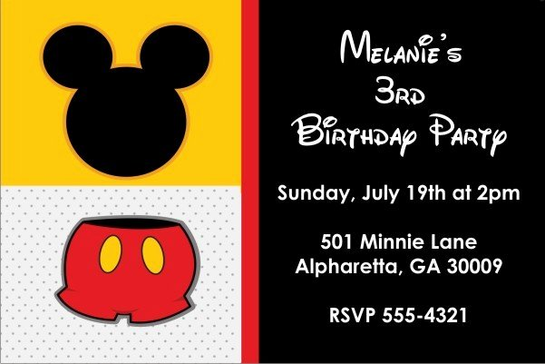 Free Mickey Mouse Invitations Unique Classic Mouse Invitation Mickey Mouse Personalized Party
