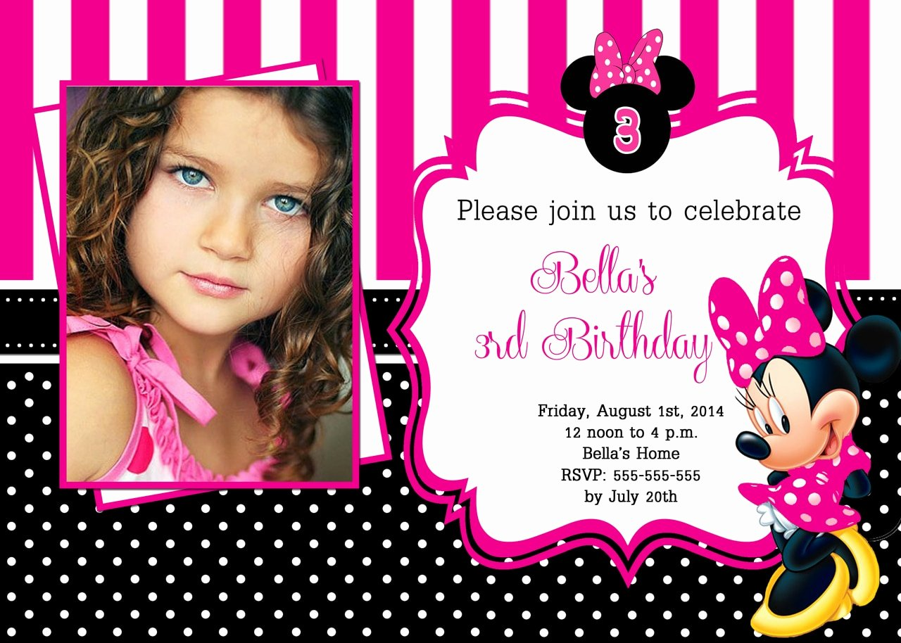 Free Minnie Mouse Invitations Personalized Beautiful Hot Pink Minnie Mouse Birthday Invitations