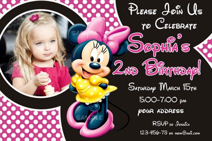 Free Minnie Mouse Invitations Personalized Beautiful Personalized Minnie Mouse Birthday Invitation Sample