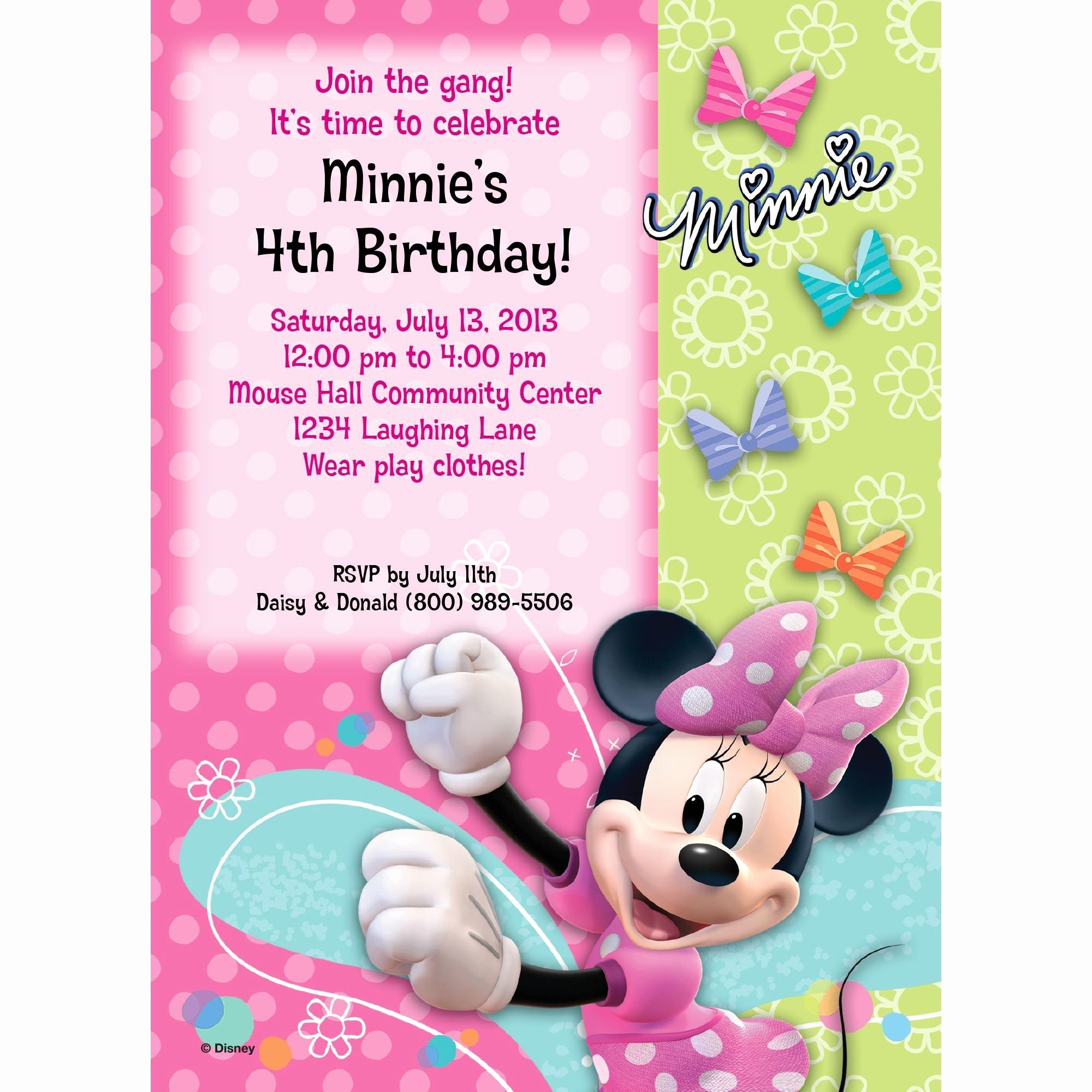 Free Minnie Mouse Invitations Personalized Elegant Minnie Mouse Birthday Party Supplies theme Party Packs