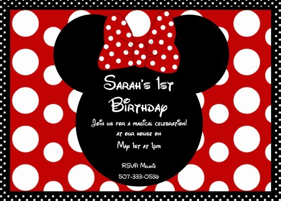 Free Minnie Mouse Invitations Personalized New Girls Ct Minnie Mouse Red Polka Dot Bow Birthday