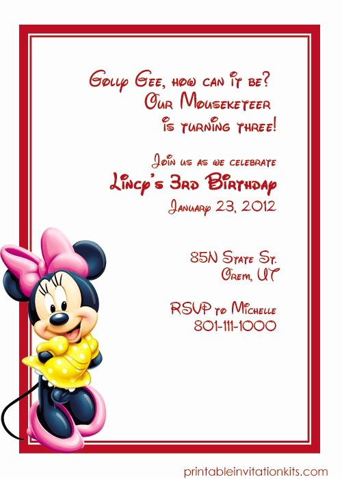 Free Minnie Mouse Invitations Personalized New Minnie Mouse Free Birthday Invitation Template