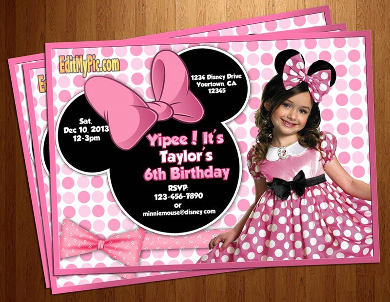 Free Minnie Mouse Invitations Personalized Unique Minnie Mouse Birthday Invitations Personalized Free