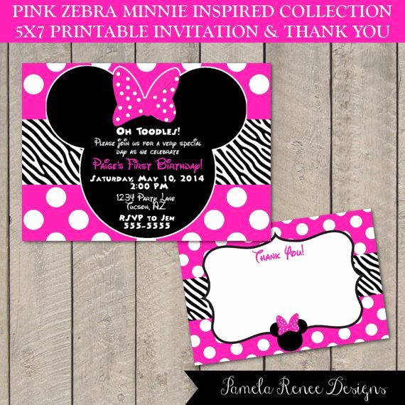Free Minnie Mouse Invitations Personalized Unique Personalized Pink Zebra Minnie Inspired 5x7 Printable